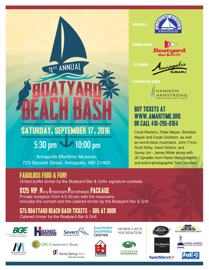 Boatyard Beach Bash, Annapolis Maritime Museum, Boatyard owner Dick Franyo, Parrot Head, Jimmy Buffett theme, Boatyard bar and grill 2016 BYBB Flyer 8 10 16 site