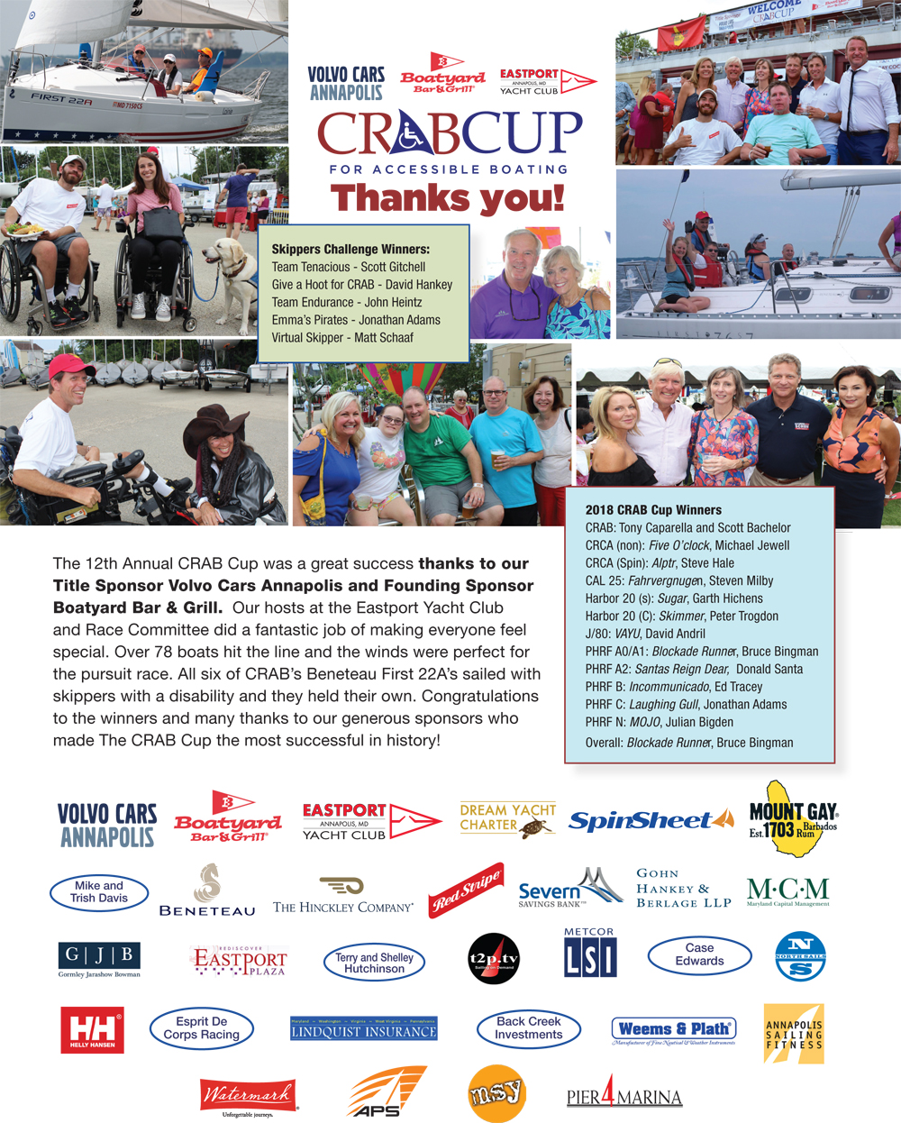 Boatyard CRAB Cup sponsor thanks