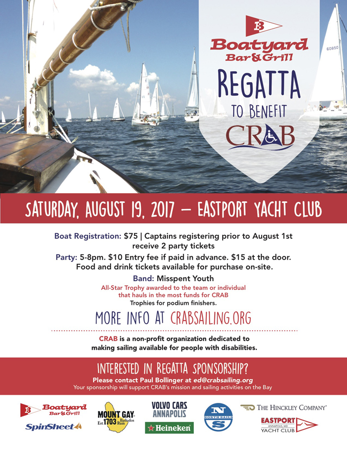 Boatyard Regatta to benefit CRAB making sailing available for people with disabilities