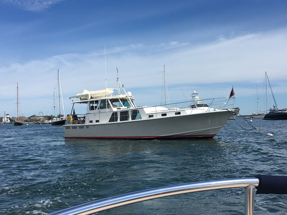 Georgina on mooring Nantucket Basin, fishing with friends, dick franyo