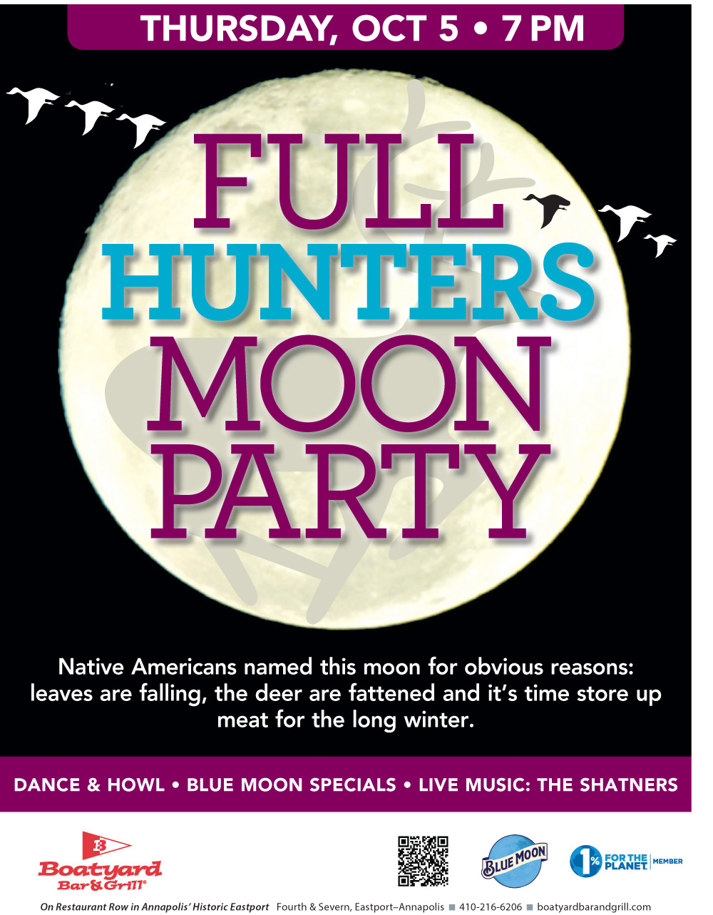 Full Moon Party, Boatyard Bar & Grill, The Shatners, drink specials