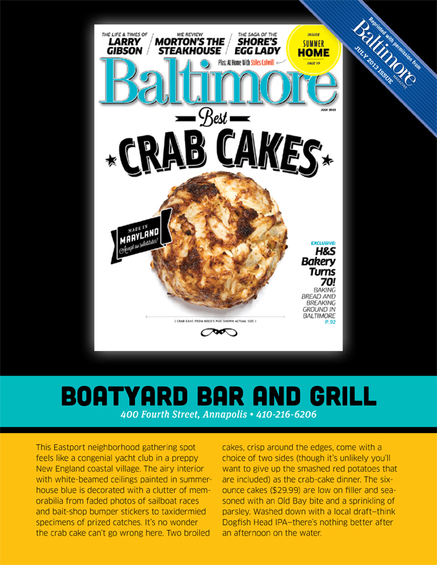 Read what Baltimore Magazine has to say in their press reviews about Boatyard Bar & Grill Best Maryland crab cakes,  Annapolis,  Food awards