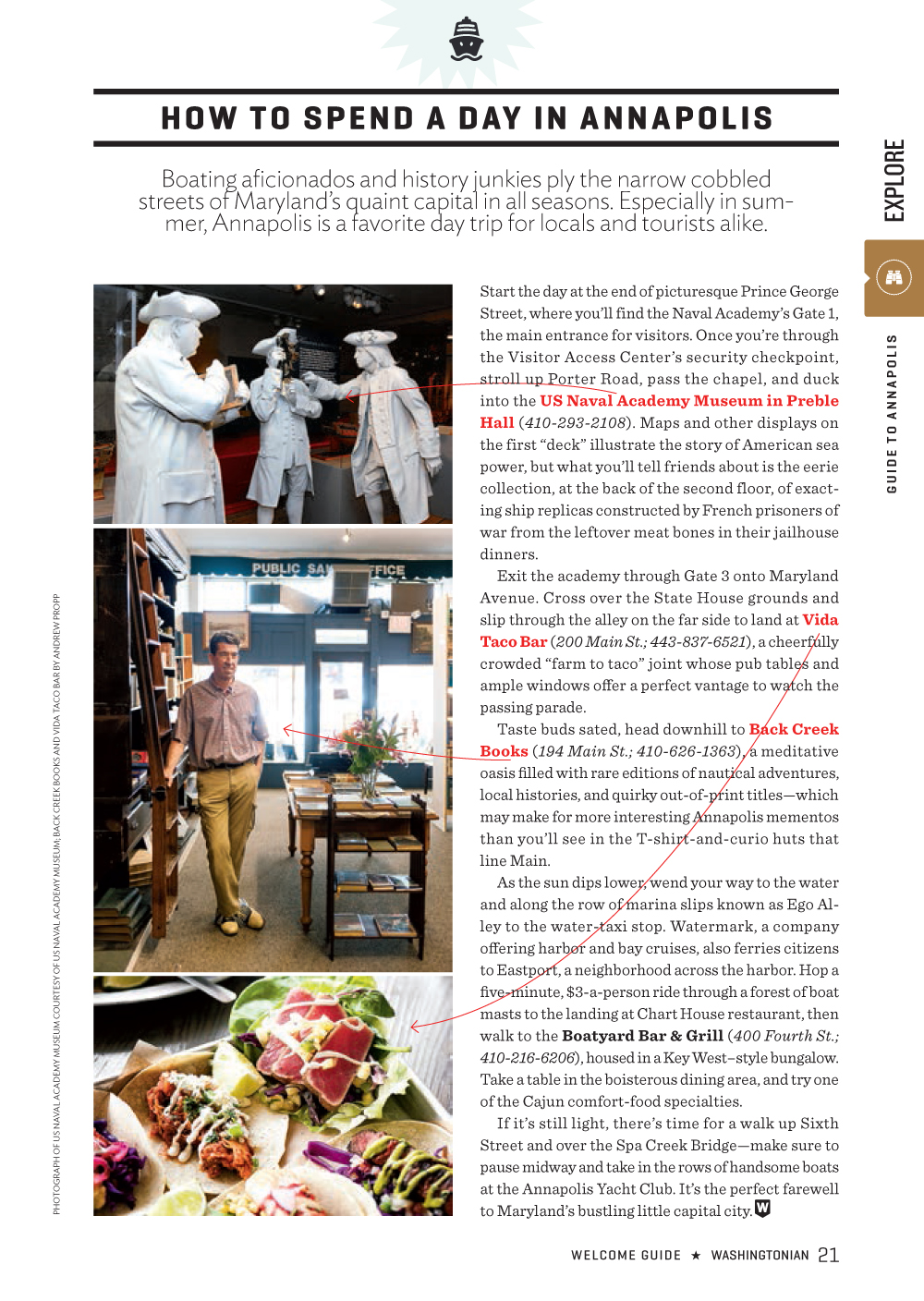 Boatyard Bar & Grill featured in the Washingtonian Welcome Guide